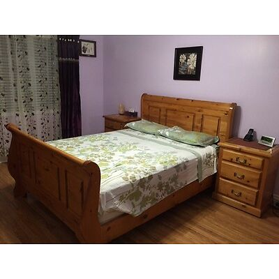Canadian Made Hard Wood Queen Size Bed with Side Drawers including Matress & Box