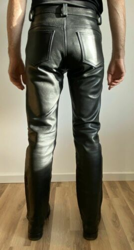 Homme jeans en cuir cuisse Fit outrageusement Luxe Pantalon Chaud