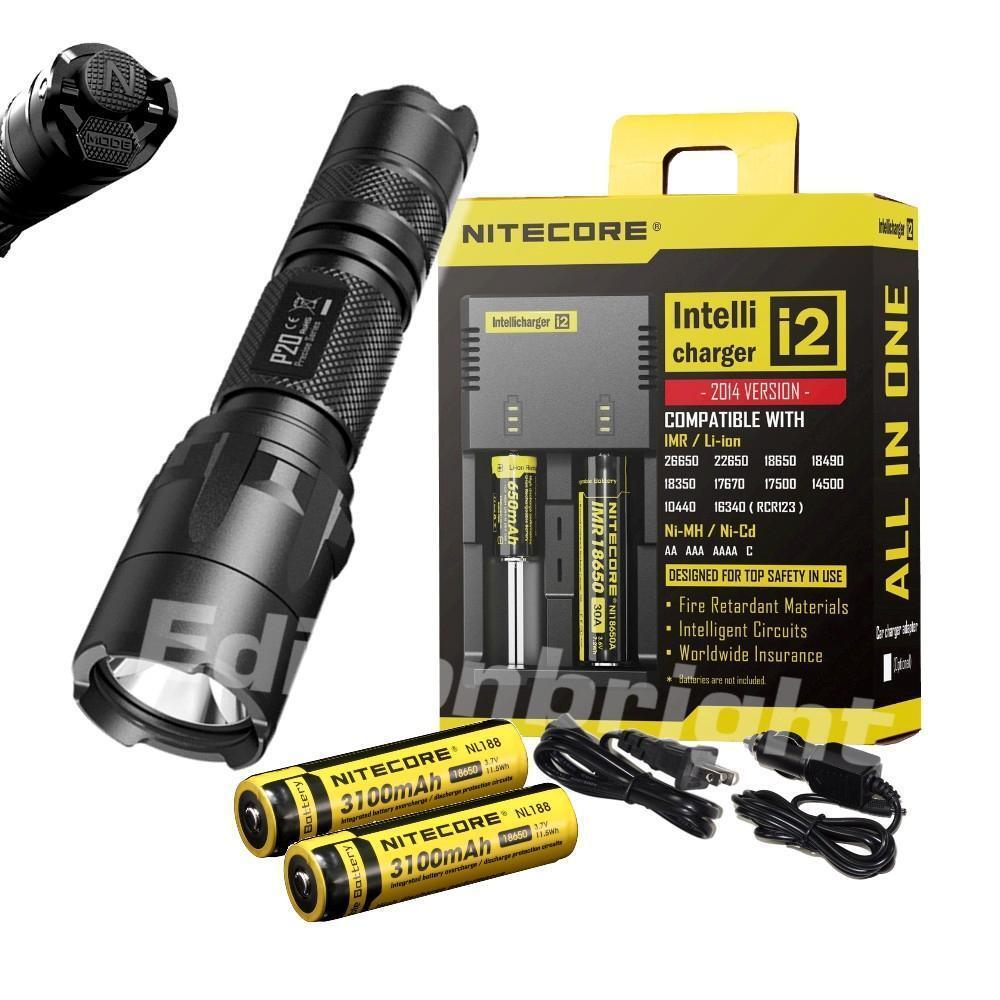 New NITECORE P20 CREE XM-L2 LED 800 Lumen Tactical Duty Flashlight w 18650 & i2