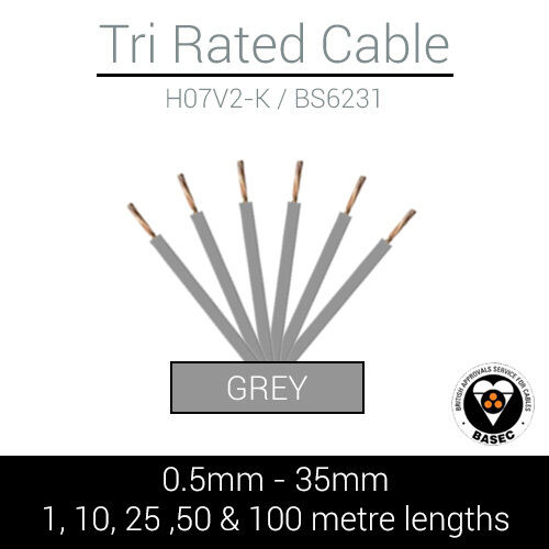 35MM MARINE AUTOMOTIVE 12V 240V CUT TO LENGTH GREY TRI RATED CABLE 0.5MM