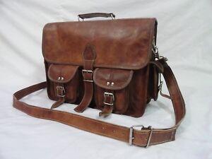 Genuine-Leather-Briefcase-Messenger-Bag-15-034-Laptop-Satchel-Business-Shoulder-Bag