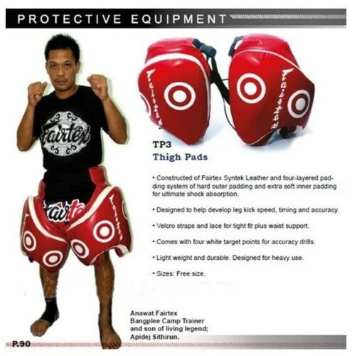 FAIRTEX THIGH PADS TP3 RED PRPTECTOR GUARD TRAINING MUAY THAI MMA BY DHL EXPRESS