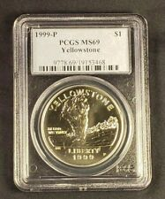 1999 P Yellowstone National Park Commemorative Silver Dollar w// Box /& COA BenL8A