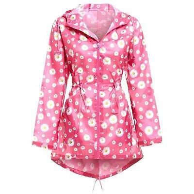 LADIES WATERPROOF WINDPROOF DAISY JACKET womens pink mac rain parka hooded coat