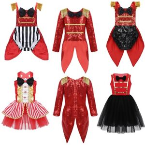 Girls Ringmaster Circus Fancy Dress Costume Shiny Sequined Party Cosplay Outfit