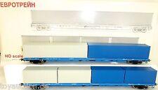 Russische Containerwagen Set 2 tlg RZD EpV H0 1:87 OVP Eurotrain 1012 OVP KC1 µ