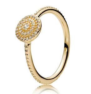 New-Genuine-PANDORA-Radiant-Elegance-Feature-Ring-14K-Gold-Vermeil-190986CZ
