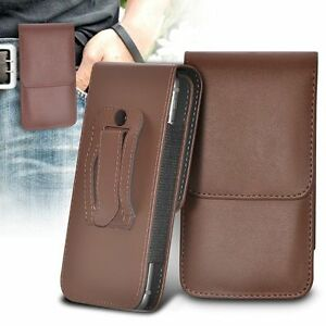 Vertical-Belt-Clip-Quality-Pouch-Holster-Top-Flip-Case-Holder-Brown