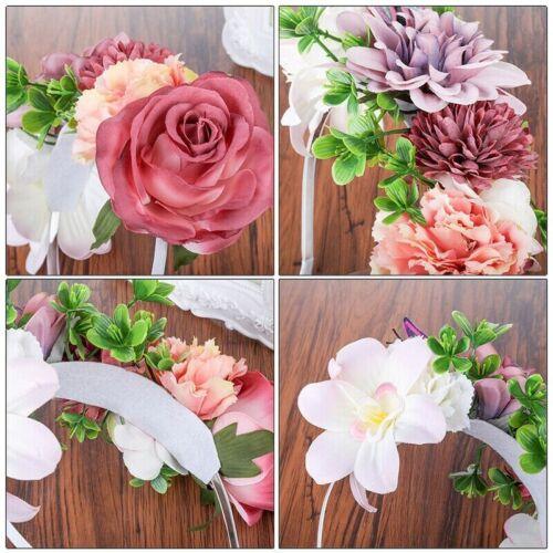 Boho Bridal Flower Crown Women Wedding Floral Garland Hair Accessories Party