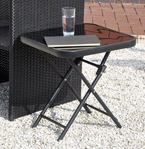 Café Noir Côté Fin Table Verre Pliable Extérieur salon meubles de jardin