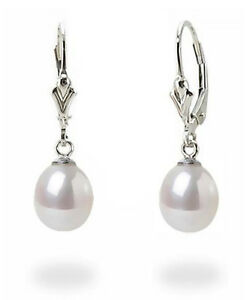 Classic-Look-100-14K-White-Gold-White-Pearl-Vintage-Style-Leverback-Earrings