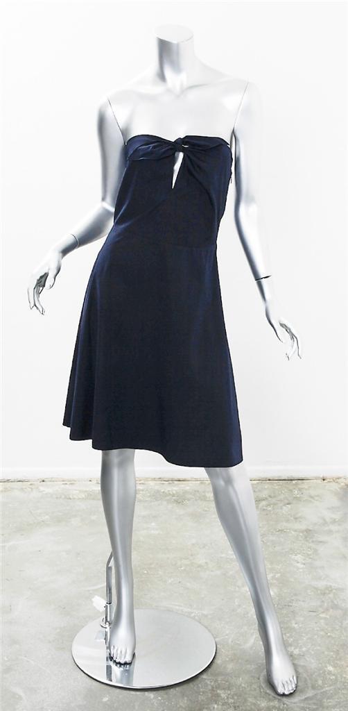 MIU MIU kvinnor Navy Cotton Strapless kort Ovan Knee Flair A - Line Dress 40