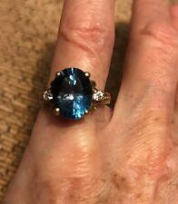 14k Large 9x11mm 4ct London Blue Topaz And diamond Ring