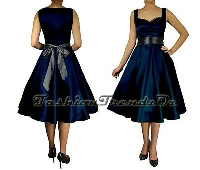 Rockabilly 50s Dress Cocktail Evening Retro Formal Swing Vintage Pinup sz 8 - 28