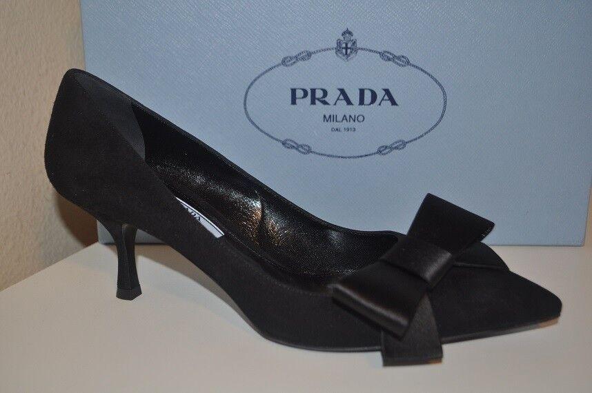 NIB PRADA Silk Bow Pointy Toe Pump 65 Heel shoes Black Goat Suede Leather 6.5