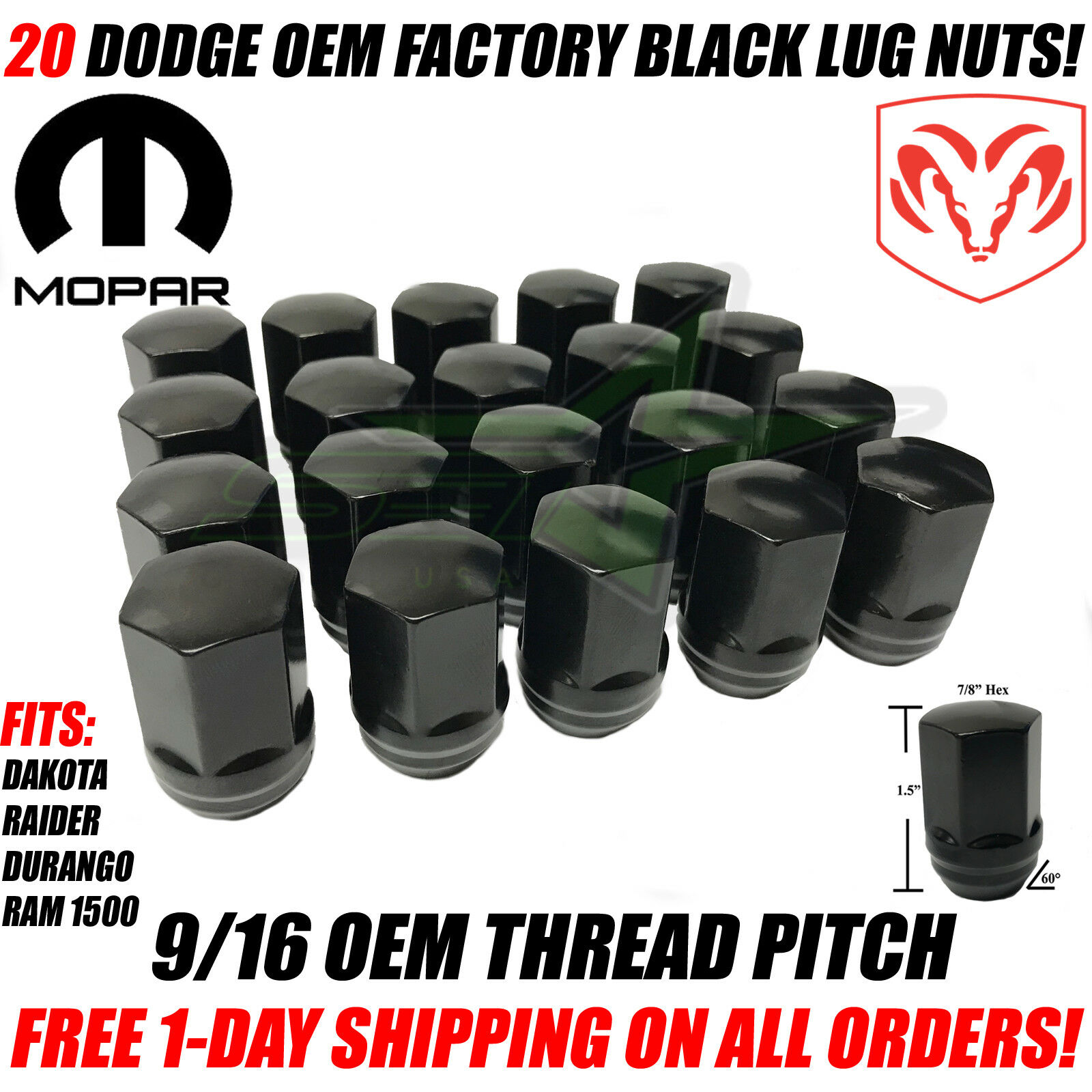 20 Acorn Bulge Wheel Lug Nuts 9//16-18 Black for Dodge Dakota Durango Ram 1500