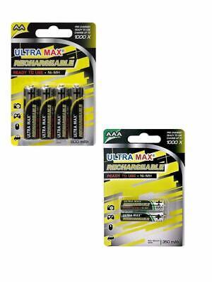 Ultra MAX 2 X Rechargeable Batteries AAA 350mAh 1.2V Ni-MH UK STOCK