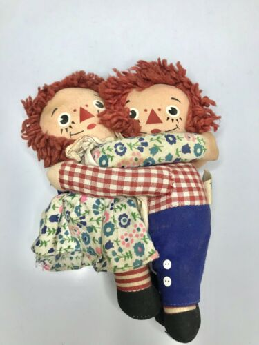 "Vintage Knickerbocker Raggedy Ann and Andy Pair Set Small Dolls 7"" Hugging"