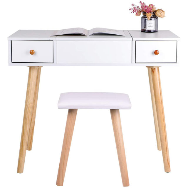 White Foldable Makeup Mirror Dressing, White Dressing Table With Fold Down Mirror