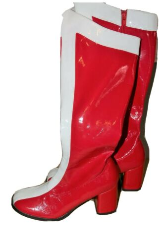 Red white gogo boots womens size 7 Halloween shoes