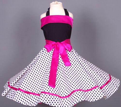 Mädchen 50-er Jahre Petticoat Tanz,Einschulung Kleid Gr104-154 Schwarz//weiß