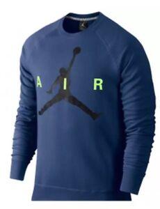 7ce5bfd6769d NWT Mens NIKE AIR JORDAN Navy Blue Logo Crewneck Sweatshirt 689014 ...