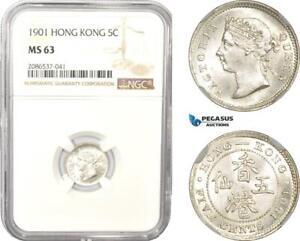 AD962-Hong-Kong-Victoria-5-Cents-1901-Silver-NGC-MS63