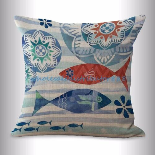 4pcs pillow decorative for sofa cushion covers fish seahorse crab octopus turtle
