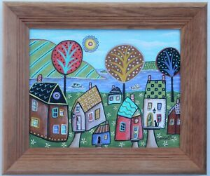 Shore-Cottages-8-x-10-FRAMED-ORIG-CANVAS-Panel-PAINTING-FOLK-ART-Karla-Gerard