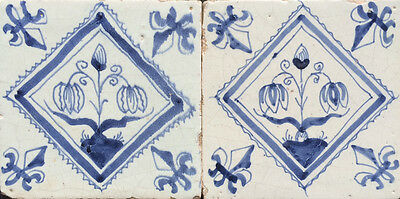 Ceramics & Porcelain Active Antique 2 X Dutch Delft Tile Double-tulip Circa 1625-1650''kwadrant Tegels''