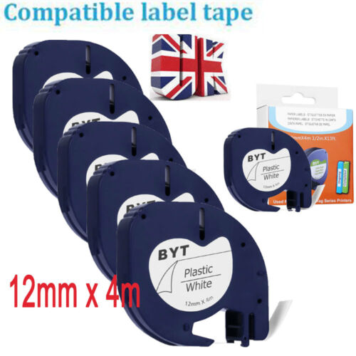 1-5x Multipack Plastic Paper Tape 12mm for Compatible DYMO LetraTag Label Makers
