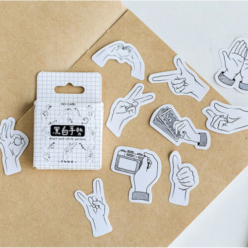 45 Pcs Black and White Gestures Sign Stickers Decor DIY Scrapbooking Diary Label