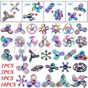 1X 2X 5X 10X Rainbow 3D Fidget Hand Spinner TRI Finger EDC Focus Desk Toys ADHD