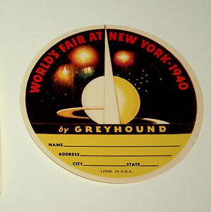 2-1940-1939-New-York-Worlds-Fair-Sphere-Greyhound-Bus-Luggage-Label-Unused-NOS