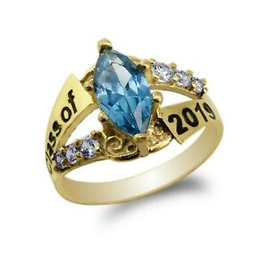 White Gold Plated 2019 Graduation School Marquise Sapphire CZ Ring Size 4-10