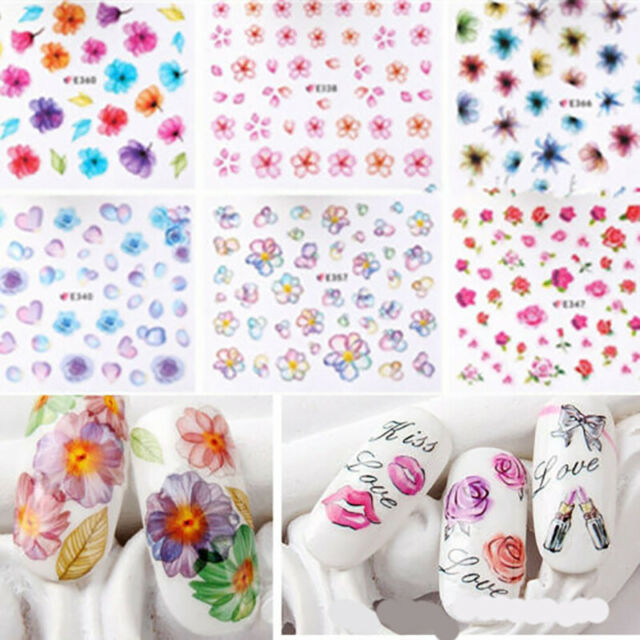 Nail Art Transfer 50 Sheets Stickers Flower 3D Decals Manicure Decoration Tips.