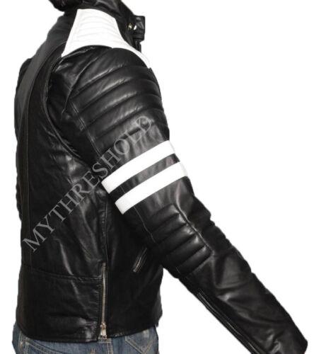 zwart Fight New streep lederen witte jas Retro Mayhem Club IHqz4
