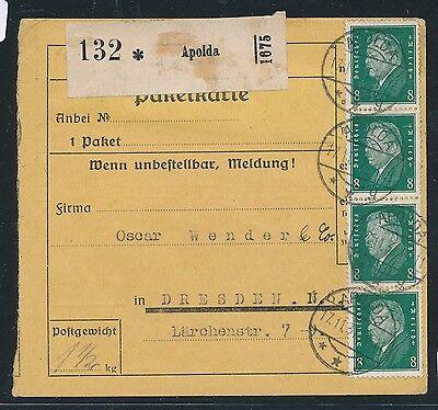 Systematisch 94303 Dr Paketkarte 60pf Mif = 8 Marken Ab Apolda 1931 Feines Handwerk Deutsches Reich