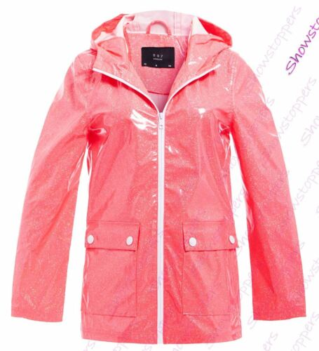 Womens Rain Mac Waterproof Neon Pink Glitter Raincoat Jacket Size 8 10 12 14 16