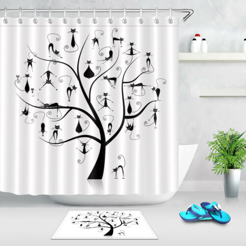 Black /& White Family Cats Tree Polyester Waterproof Fabric Shower Curtain Liner