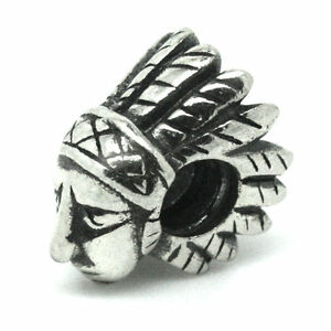 INDIAN-BRAVE-Native-American-CHIEF-Solid-925-Sterling-silver-bead-charm-Threaded