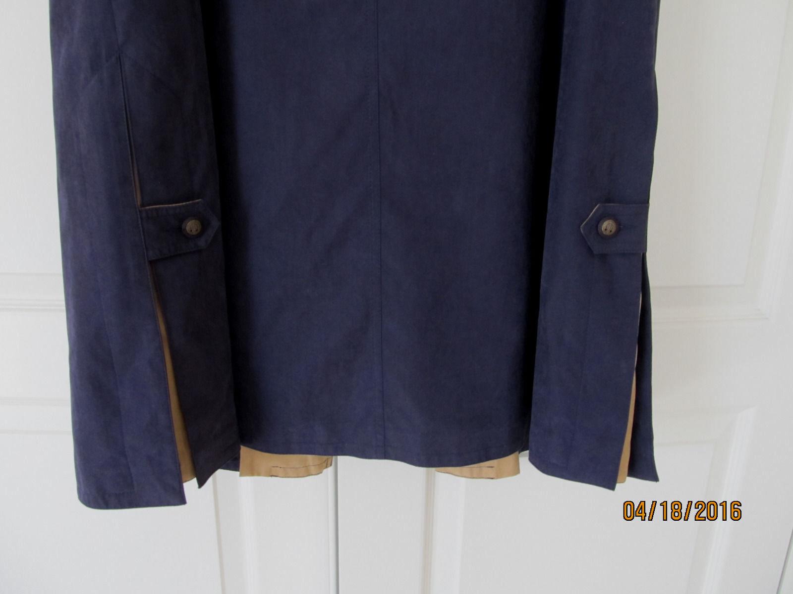 NWOT Luba Navy Tan Multi Ankle-length Front Front Front Button Raincoat Women 6 (S-M) 641cf4