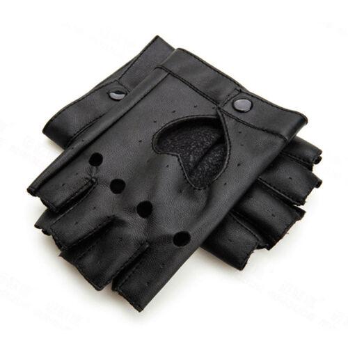 Women Punk Leather Driving Biker Fingerless Mittens Dance Motorcycle Gloves H/&P