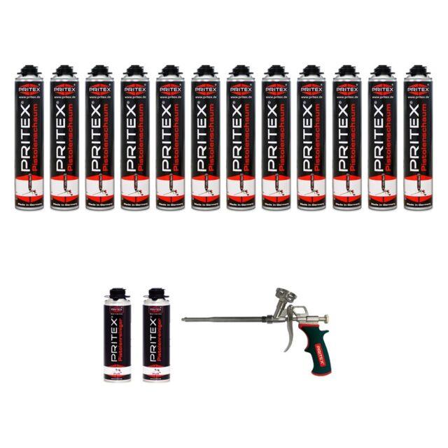 XXL Pistolenschaum 12 x 750ml + 2 Reiniger und 1 Pistole Bauschaum