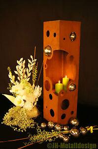 Feuer-Saeule-Bubbles-Edelrost-Rost-Metall-Gartendeko-Stele-Fackel-Windlicht