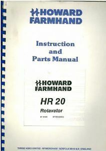 Genteel Howard Farmhand Rotavator Hr20 Operators Manual Includes Illustrated Parts List Pure And Mild Flavor Agriculture/farming