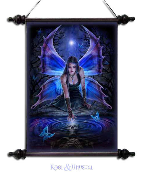 "Anne Stokes Wall Art Scroll: ""Immortal Flight"" Gothic Fairy with Skull Vision"