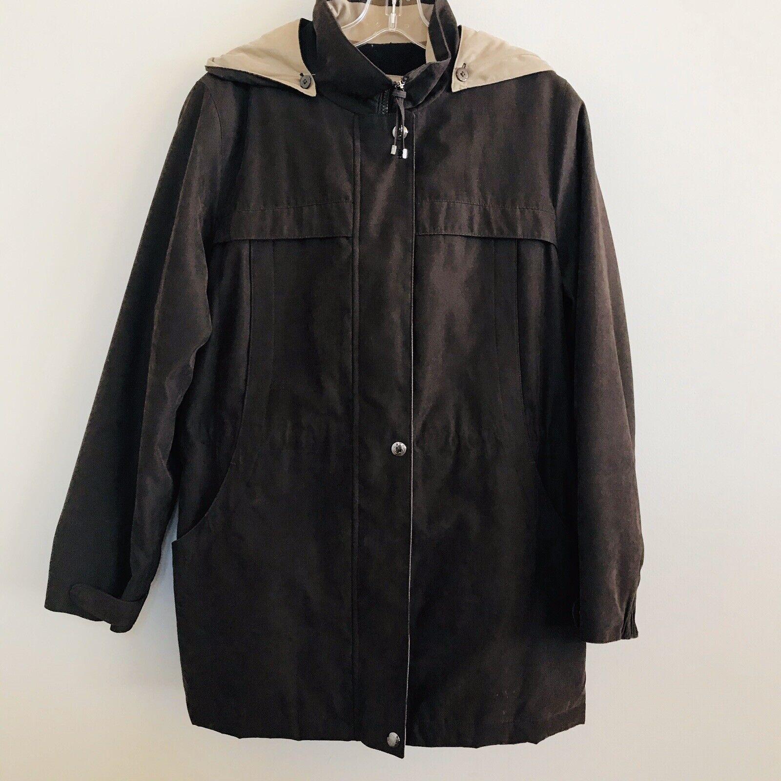 LIZ Claiborne outerwear women's sz M Brown Winter coat w/ hood & belt