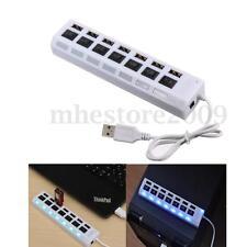 7-Port USB 2.0 Hub Splitter Adapter Blue LED ON/OFF Switch for Laptop PC Plug