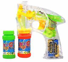 Haktoys Transparent Bubble Shooter Gun w/ LED Lights, Extra Bottle & Batteries